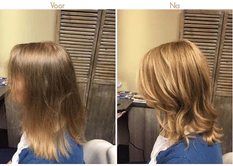 haarstukjes voor en na foto